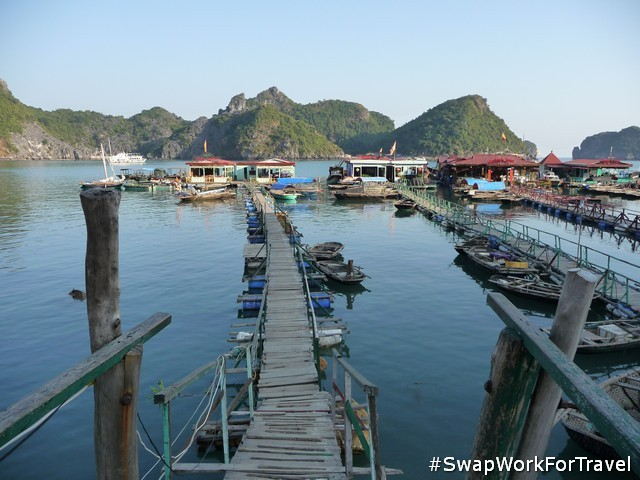 Cat Ba Island's floating restaurant while Swapping