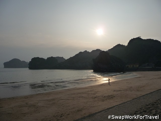 Swimming at Cat Ba Island in Ha Long Bay
