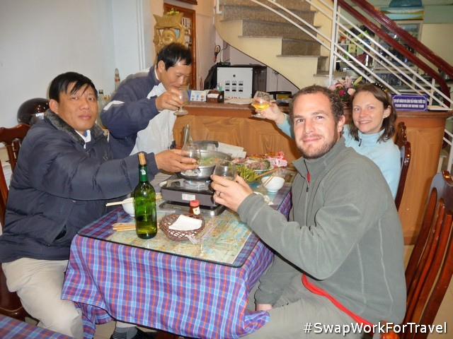 SwapHosts providing food for us in Ha Long Bay